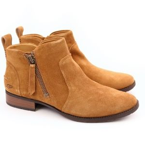 UGG Aureo Chestnut Suede Zipper Ankle Boots NEW!
